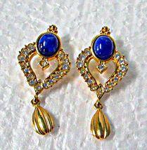 Avon Blue Cabachon & Rhinestone Dangle Earrings Pierced Style 2 1/8th Long - $6.00