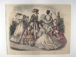 Antique Steel Engraving Print of Godey's Fashions From: July 1863 (sku#4... - $27.55