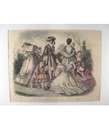 Antique Steel Engraving Print of Godey's Fashions From: July 1863 (sku#4... - $38.55