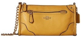 NWT Coach Mickie Mustard Grain Leather Crossbody Bag  - $186.07