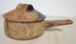 Vintage1980  Orange Brown Lidded Dip Serving Stoneware Bowl with handle - $32.33