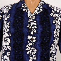 Royal Creations Hawaiian Aloha Shirt Blue White Hibiscus Monstera Border... - $28.04