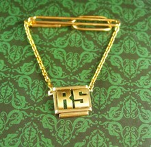 Personalized Tie clip Letter RS Initial jewelry Vintage gold fancy chain... - $85.00