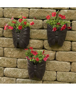 Planters Large Wall Metal Butterfly 3 Pk Garden & Flower Planters Home D... - $54.10
