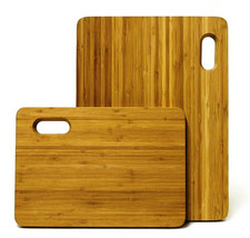Mangoleaf Bamboo Cutting Board 2pk With Silicone Band NEW