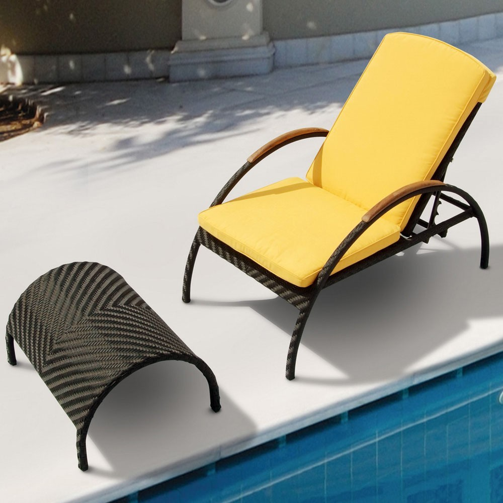 Black wicker chaise lounge with footrest lounges for Belmont black wicker patio chaise lounge