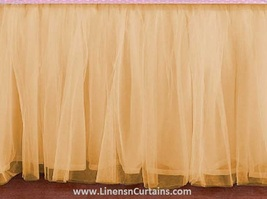 Daybed BEIGE Tulle Ruffled Bed Skirt in any drop length - $75.99+