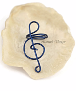 Indigo Treble Clef Ear Cuff, No Piercing Cartilage Earrings - $6.90+