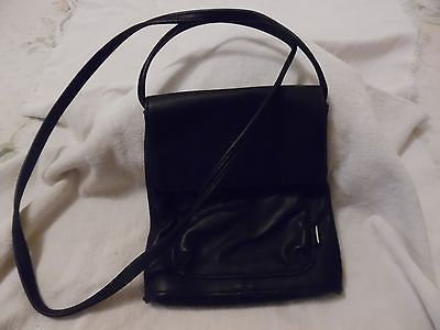 Primary image for AUTHENTIC NINE WEST BLACK LEATHER CROSS BODY PURSE SHOULDER BAG COMPARTMENTS EC