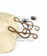 Antiqued Brass Treble Clef Stud Earrings - $16.90