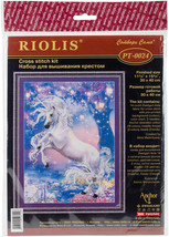 "RIOLIS Stamped Cross Stitch Kit 11.75""X15.75""-Unicorn (14 Count) - $30.43"