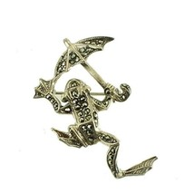 Vintage Sterling Marcasite Jumping Leaping Frog Pin With Umbrella Darlin... - $44.99