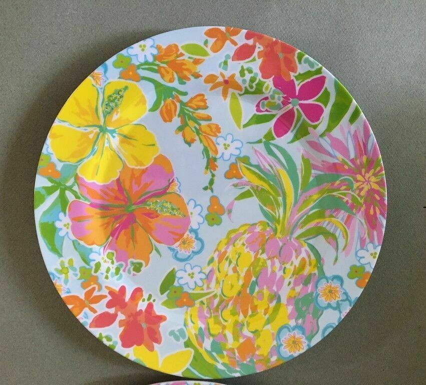 """Melamine Dinner Plates Tropical Pineapple Hibiscus Floral 2 pc set 10.5"""" NEW"""