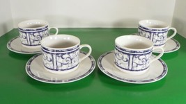 Oneida BRETON BLUE Cup and Saucer Set (s) LOT OF 4 Blue and White - $29.65