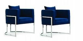 Meridian Furniture Pippa Modern Navy Velvet Chrome Base Accent Chairs (S... - $1,249.50