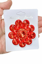 """2.5"""" Diameter Large Punch Orange Acrylic Crystals Cluster Flower Brooch Pin  - $18.05"""