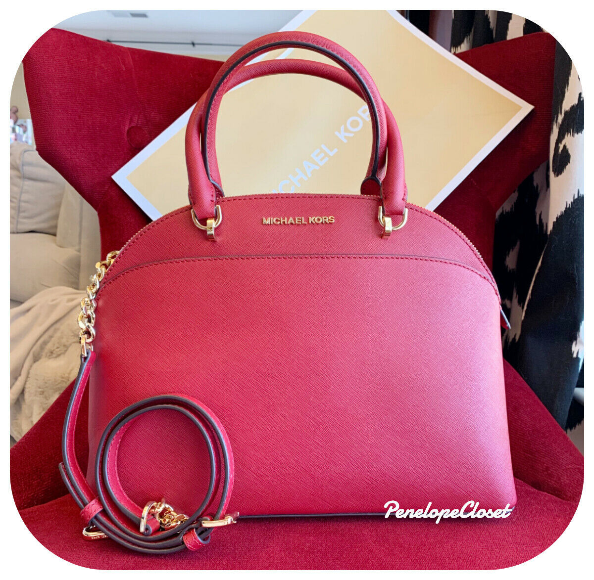 059392bc8619 57. 57. Previous. NWT MICHAEL KORS SAFFIANO LEATHER EMMY LARGE DOME SATCHEL  BAG IN SCARLET