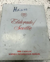 1988 GM Cadillac Eldorado Seville Service Atelier Réparation Manuel OEM ... - $8.90
