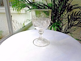 Bryce Walker Diamond Sunburst c 1870's Original Clear Water Goblet - $49.50