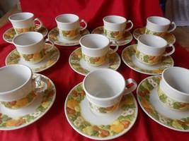 Outstanding VERNON WARE by Metlox DELLA ROBBIA Handpainted 10 CUPS & SAU... - $58.99