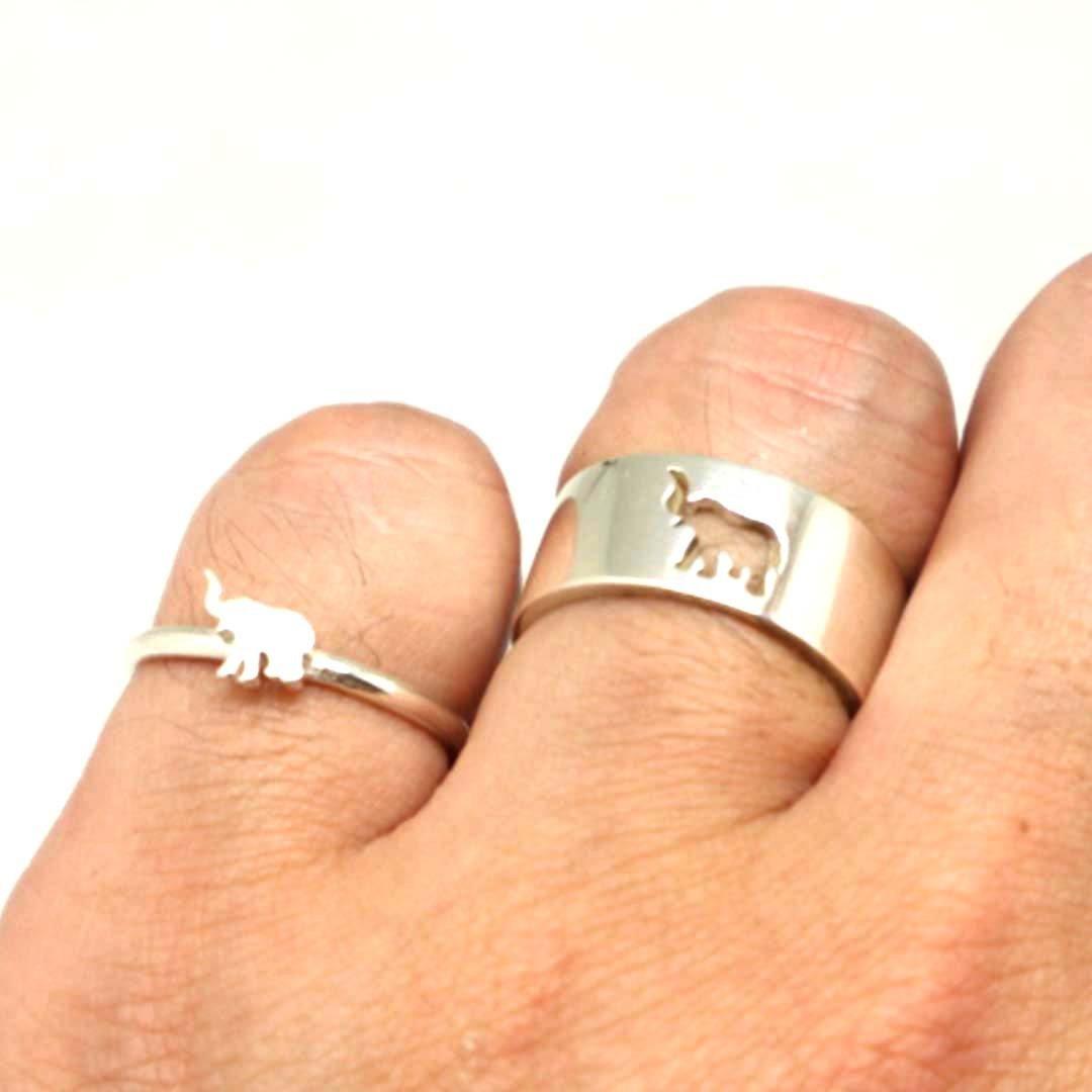 Elephant Couple Set Promise Ring