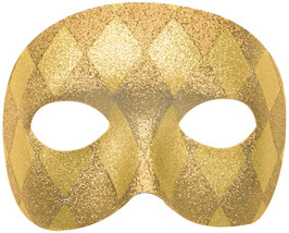 "Amscan Harlequin Domino Party Mask, 3"" x 7"", Gold, Model:360061 - $50.53"