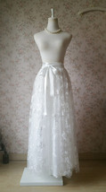 Embroidery White Lace Tulle Maxi Skirt Alternative Wedding Party Bridal Skirts image 7