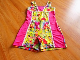 Size Large Future Star Capezio Pink Multi Colored Heart Print Biketard Leotard - $18.00