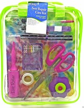Sewing Repair Mend Kit Scissor Needle Thread Buttons Pins Lime Case Drit... - $14.99