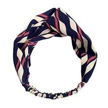 Vintage Elastic Hairband Blue/Red Contrast Color Nylon Head Wrap Headband image 1