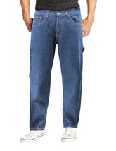 Men's Carpenter Work Jeans Hammer Loop Relaxed Fit Casual Cotton Denim Pants image 2