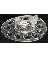 GLASS Vintage HEN ON NEST - DEVILED EGG PLATE Nice Design! - $71.27