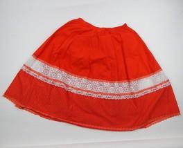 Vintage Red Square Dancing Lace Skirt CareFree Fashions Boho Prairie Siz... - $13.54