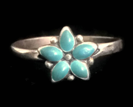 Vintage Turquoise Flower Sterling Silver Southwest Ring Size 6 Handmade ... - €23,60 EUR