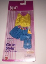 1996 Barbie Fashion KEN GO IN STYLE Beach Wear Yellow Tank Aqua Shorts 6... - $19.99