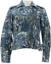 Colleen Lopez Effortlessly Faux Leather Moto Jacket Blue Floral XL NEW 6... - $36.61