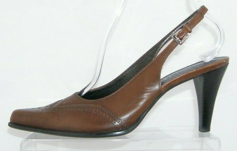 Franco Sarto brown leather pointed oxford brogue buckle slingback heels 7.5M image 11