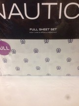 New Nautica ANCHOR Circle Full Sheet Set Navy Blue Gray Wrinkle Resistant - $38.81