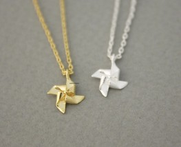 Pinwheel, Windmill Pendant Necklace In Gold / Silver - $11.00