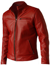 Elegant Men's Red Leather Jacket - Voteporix | LJM - $199.99