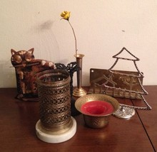 Lot of Vintage Brass & Silver Plate Decorative ... - $32.38