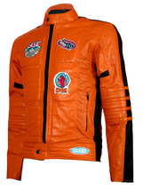 Biker Movie Kill Bill Men Leather Jacket In Orange | LJM - $219.00