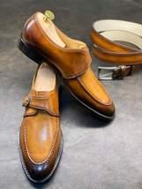 Handmade Men's Tan Leather Monk Strap Dress/Formal Shoes image 3