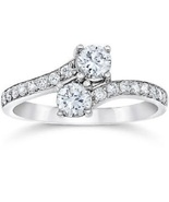 2 Carat Forever Us Two Stone Round Sim Diamond Solitaire Ring 14K White ... - $89.99