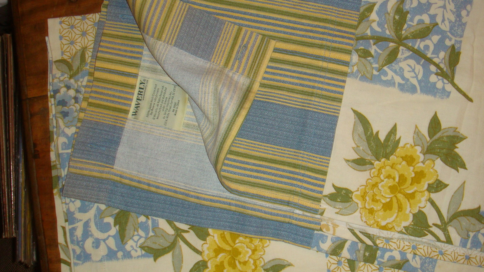 Waverly Sweetwater Stripe Sunny Yellow Blue Floral Fabric
