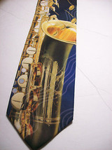 RALPH MARLIN  Saxaphone NOTES  100 SILK Necktie s 8-317c image 2
