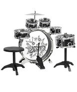 Kids Drum Set Kids Toy with Cymbals Stands Throne Black Silver Boys Toy ... - $46.99