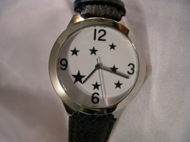 "M01, White Faced with Stars, 8.5"" Black Leather Band, Men or Women, w/b - $19.83"