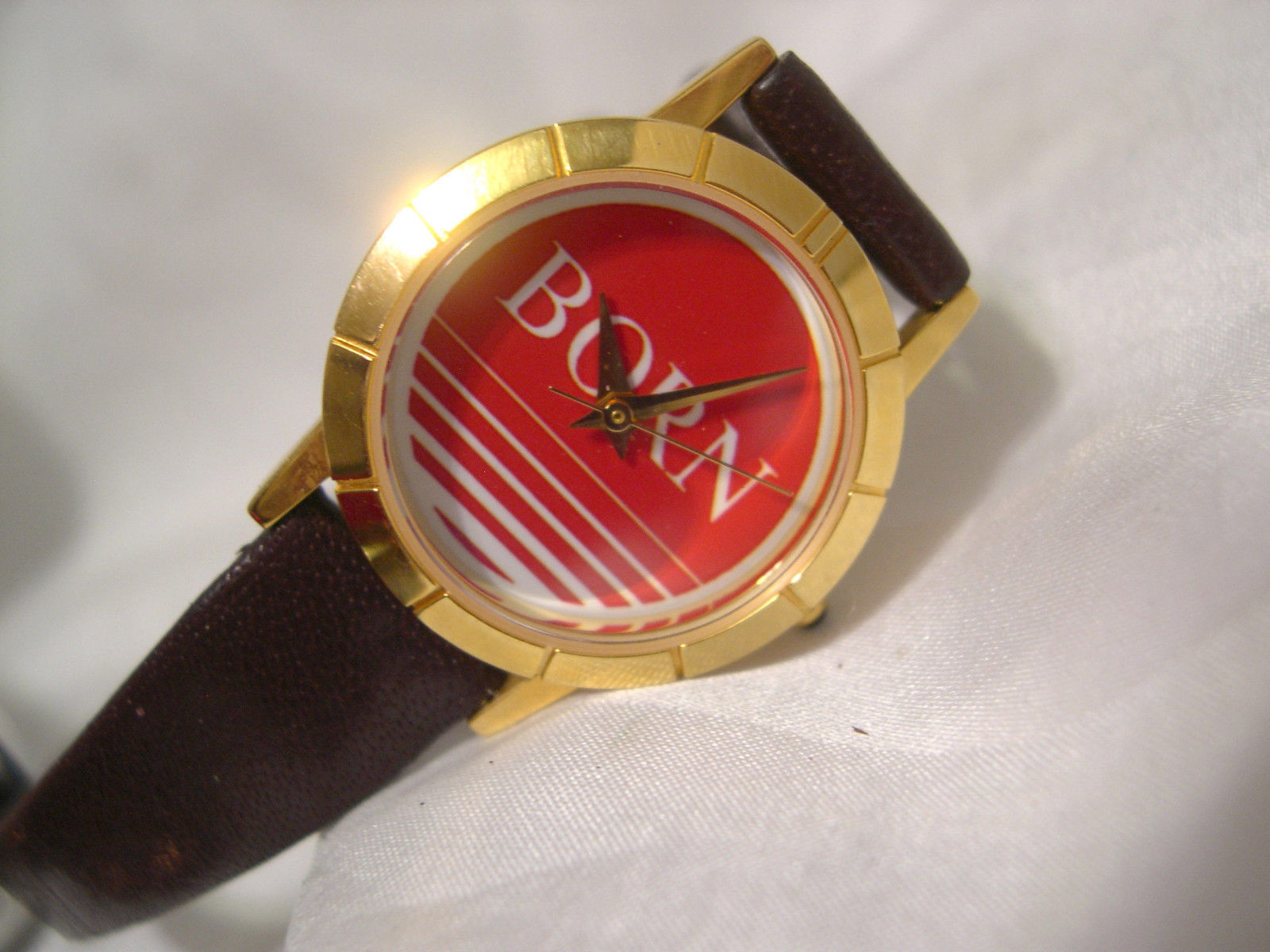 "Primary image for L64, Born by Image, Ladies Watch, Red Face, Slender 8.5"" Leather Band, w/b"
