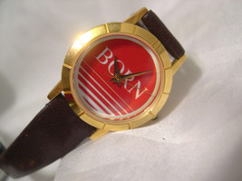 "L64, Born by Image, Ladies Watch, Red Face, Slender 8.5"" Leather Band, w/b - $11.83"